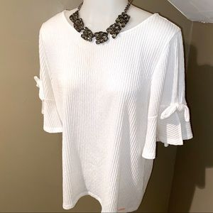 Ivanka Trump Women's White Open Sleeve Top SZ M